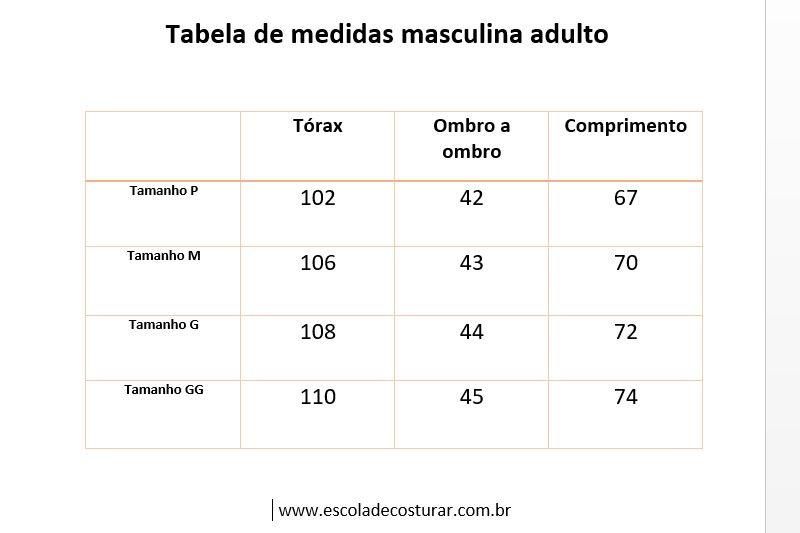 tabela medidas masc