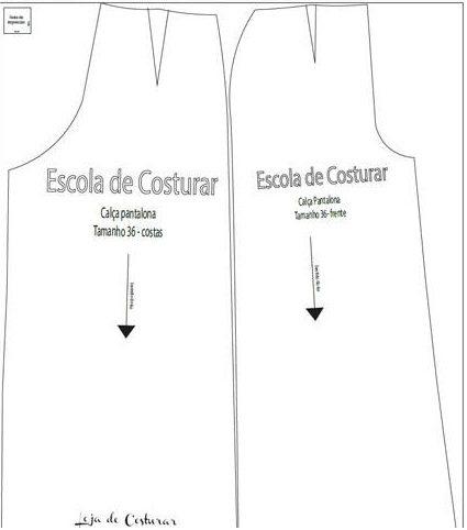 Molde calça pantalona da Escola de Costurar tamanhos 36 á 54