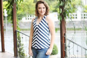 como costurar blusa listrada feminina