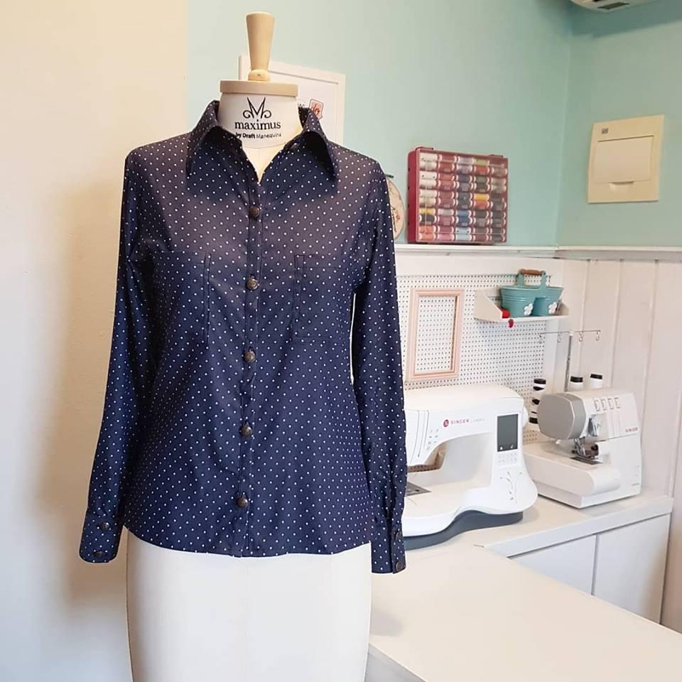 6cc57f5f80 Camisa social feminina com molde - Escola de Costurar - Dicas e ...