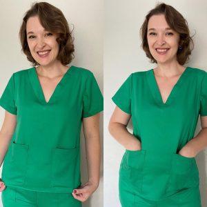 Camisa do pijama cirúrgico com moldes e passo a passo
